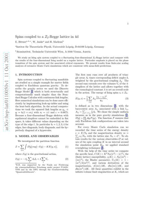 Elmar Bittner - Spins coupled to a $Z_2$-Regge lattice in 4d