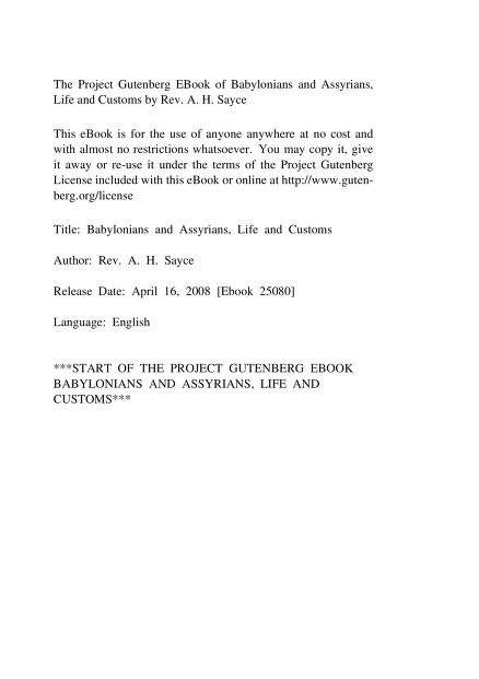 A. H. (Archibald Henry) Sayce - Babylonians and Assyrians, Life and Customs