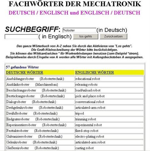 dictionary robots english/german (vocabulary-technical words-terms-english for engineers-engineering-mechatronics-robotics-of-drives) Übersetzungen von Fachbegriffen für Ingenieure/ engineers + Lexikon / Glossar Mechatronik /of drives
