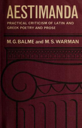 Cover of: Aestimanda | Maurice George Balme
