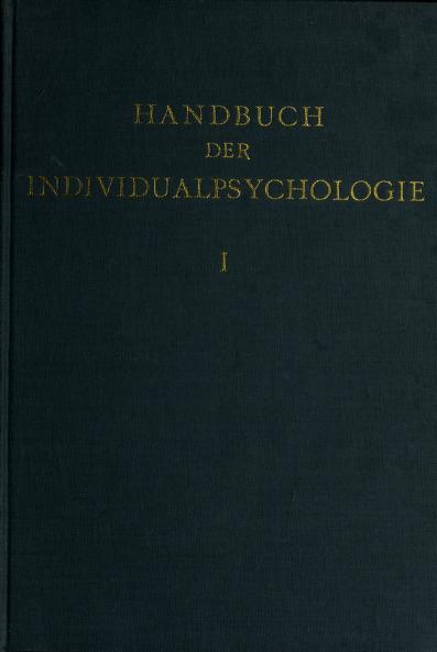 Handbuch der Individualpsychologie by Erwin Wexberg