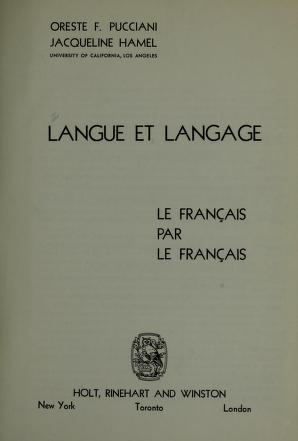 Cover of: Langue et langage | Oreste F. Pucciani