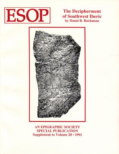 The decipherment of southwest Iberic by Donal B. Buchanan